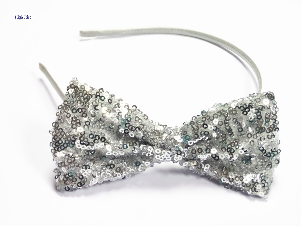 Silver Sequin Bow Alice Band