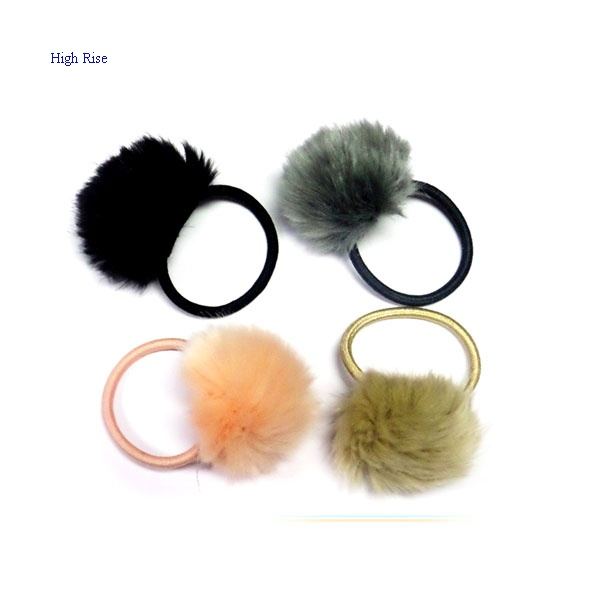 Fur Pompoms Elastic Ponytail Holder
