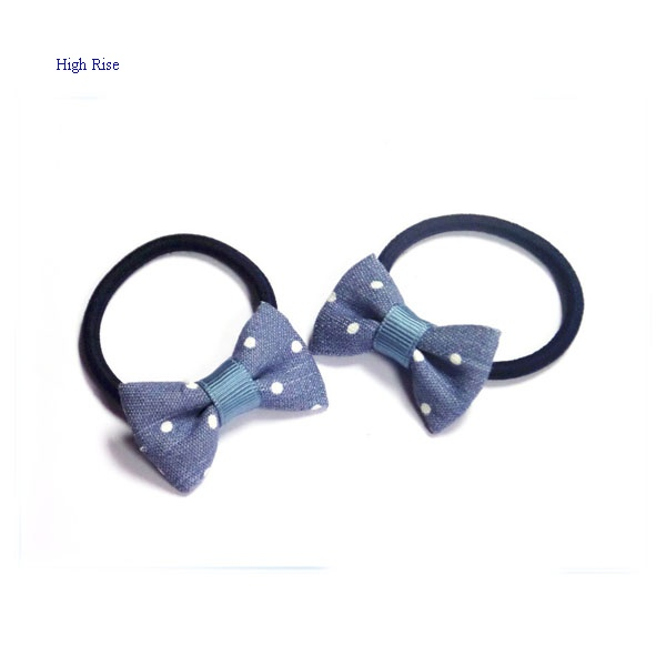 Dots Jeans Bow Hair Elastic Ponytail Holder
