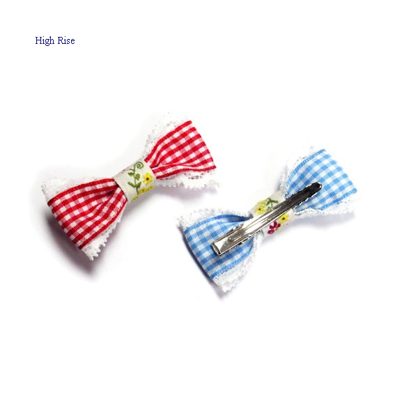 Lace Fringe Checked Fabric Bow Hair Clip Alligator Clip