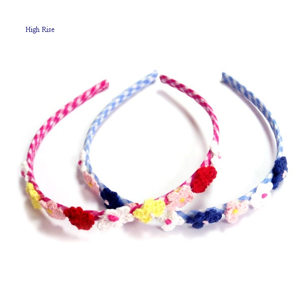 Colorful Crocheted Flowers Alice Band For Kids