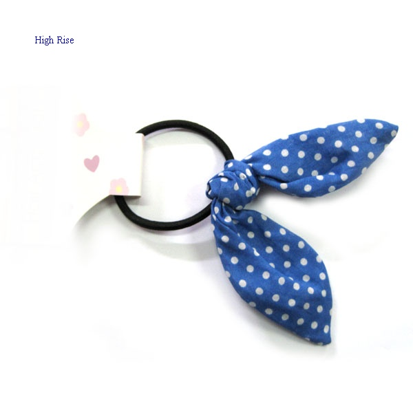 Dotted Blue Bow Hair Elastic Ponytail Holder