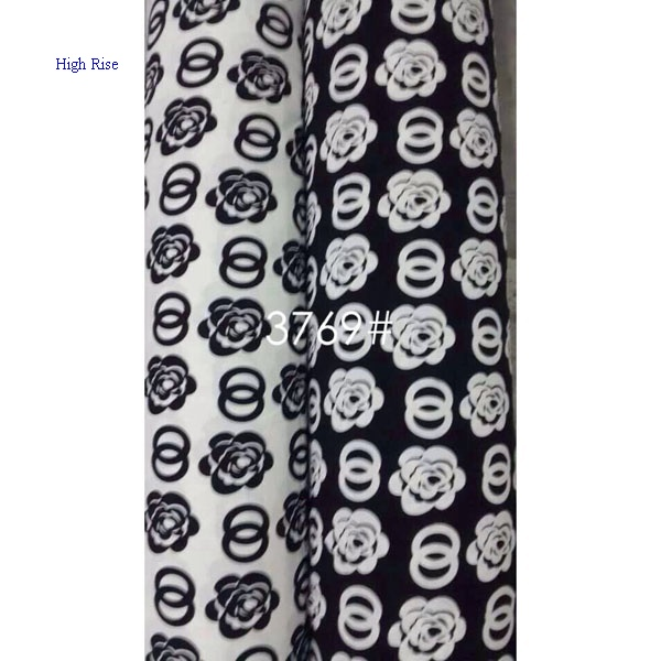 White And Black Flowers Pattern Fabric Suit For AW