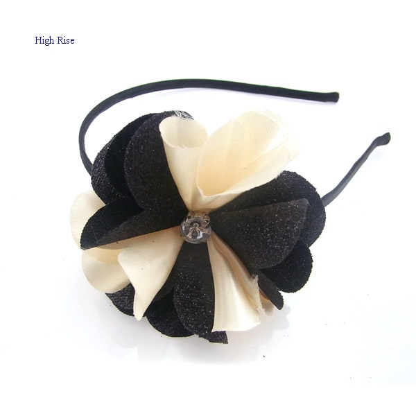 Glitter Leath With Chiffon Petals Flower Alice Band