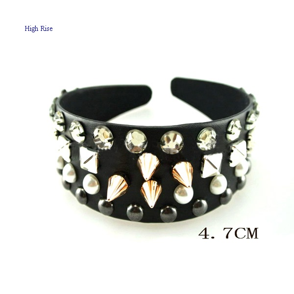 Crystal And Studs Wide Leather Alice Band