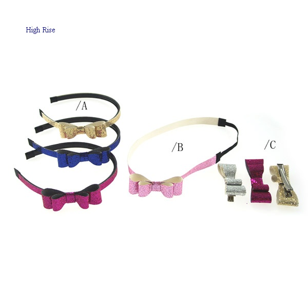 Glitter PU Bow Alice Band And Hair Clip