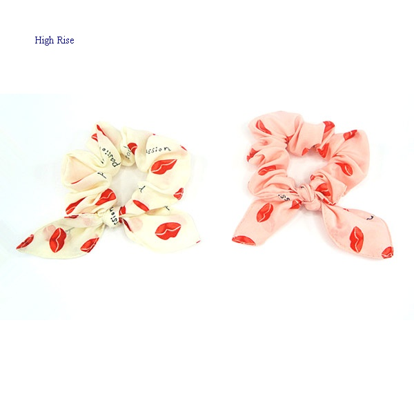 Red Lip Pattern Bow Scrunchies