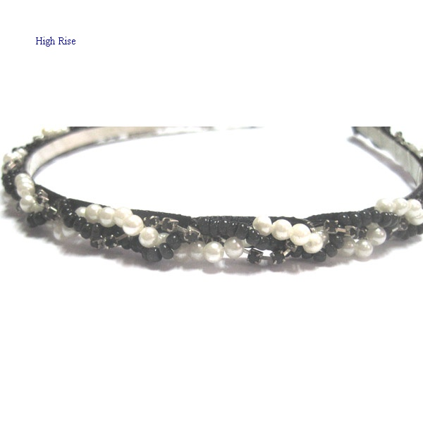 Black And White Pearls Chain Braided Alice Band