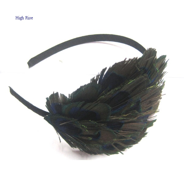 Faux Peacock Feather Alice Band