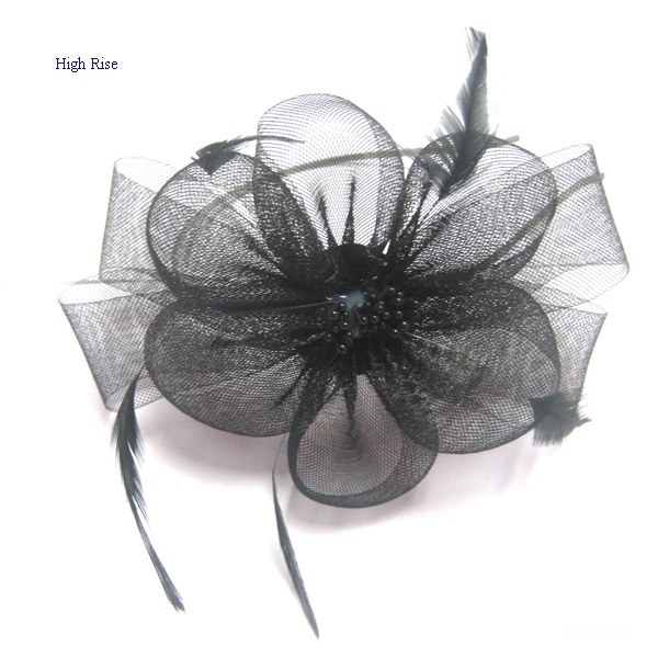 Mesh Flower With Feather Fascinator Alice Band
