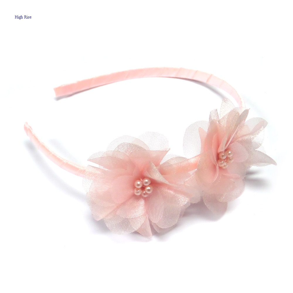 Double Pink Flowers Headband Alice Band For Kids