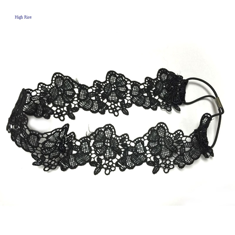 Black Crocheted Lace Flower Headband