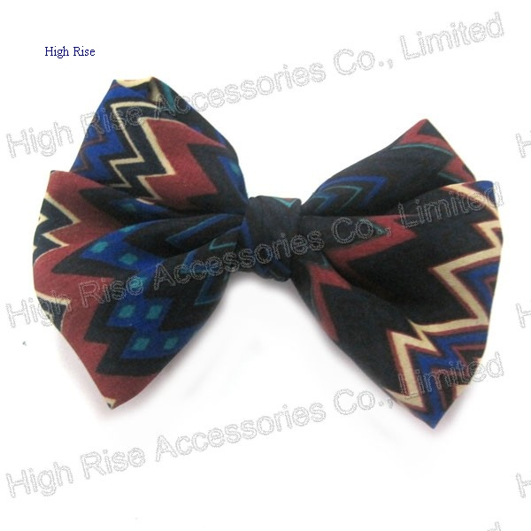 Ethnic Pattern Bow Hair Clip Alligator Clip