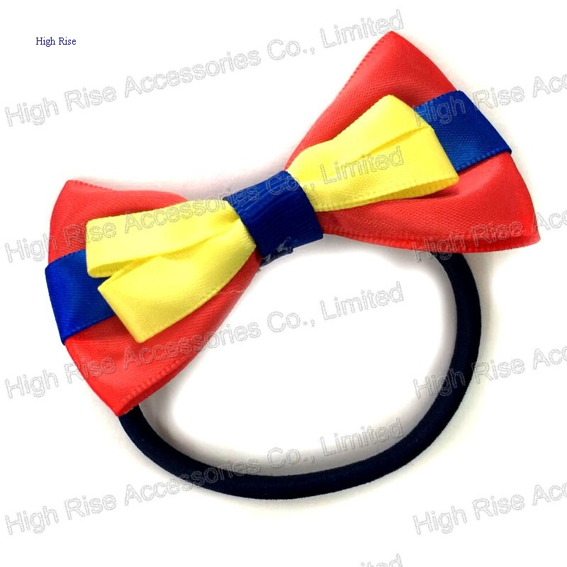 Three Colored Sation Bow Hair Elastic Hair Band Ponytail Holder