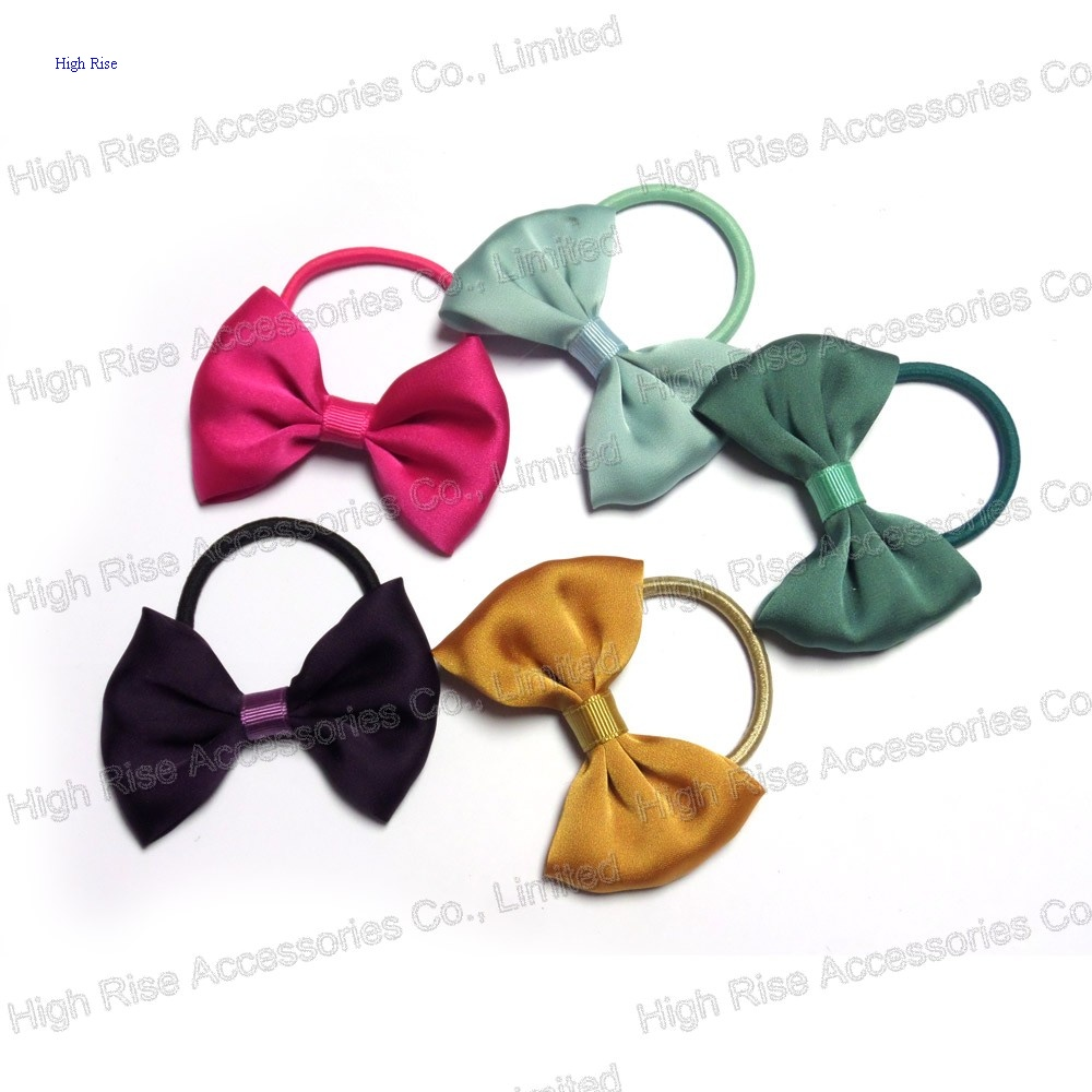 Colored Satin Fabric Bow Hair Elastic Hair Band Ponytail Holder