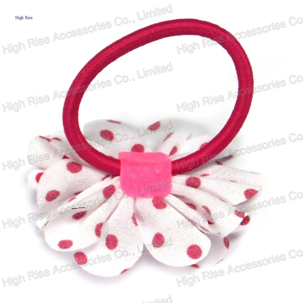 Fuchsia Dotted Flower Hair Band Hair Elastic Ponytail Holder