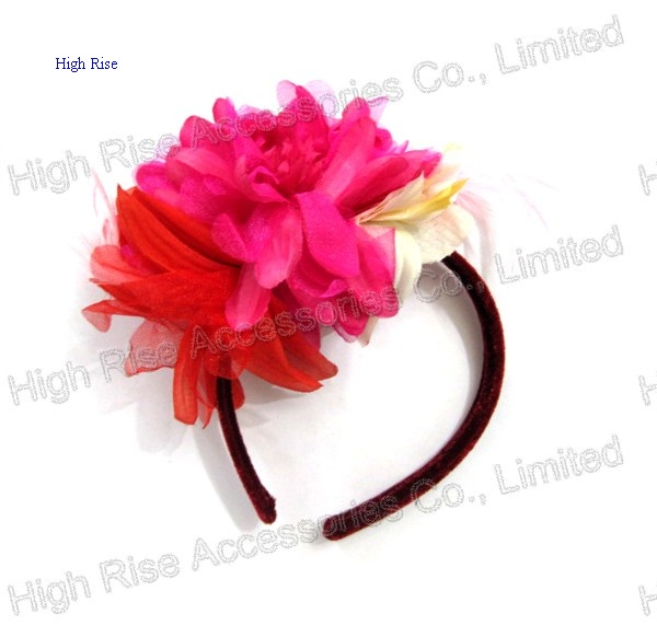 Fuschia Flowers Corsage Headband Alice Band