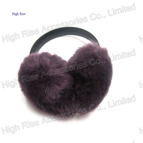 Black Leather Band Purple Earmuffs For Winter