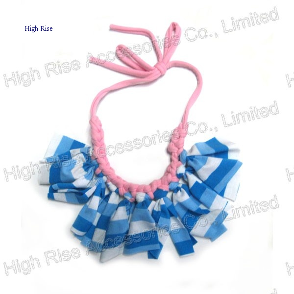 Blue Stripes Fringe Collar Necklace