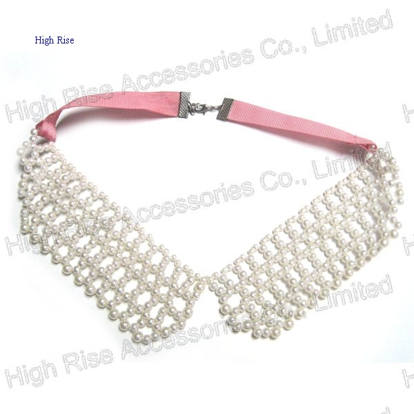 Pearls Hollow-out Collar with Pink Ribbon