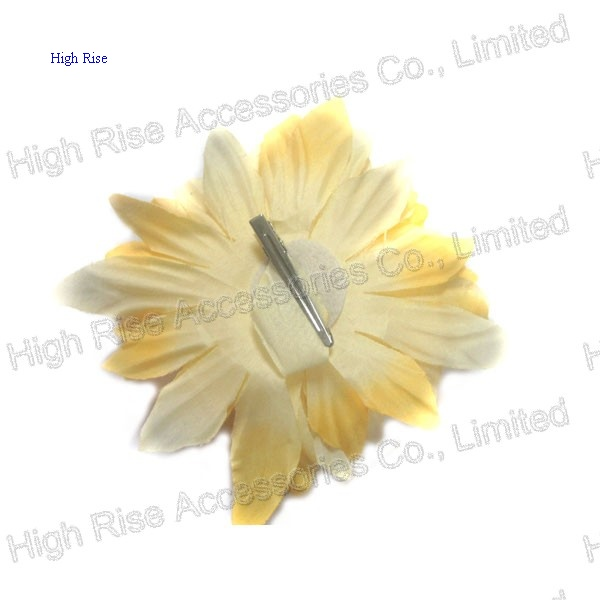 Two Color Flower Hair Clip, Yellow Flower Alligator Clip