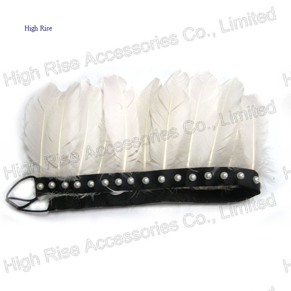 Indian White Feather and Beads Crown Elastic Headband