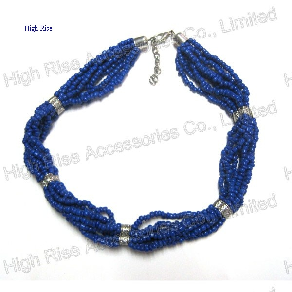 Multiple Beads Strands With Crystal Tie Necklace