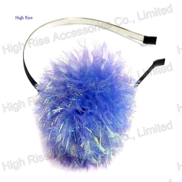 Big Purple Pom Pom Alice Band