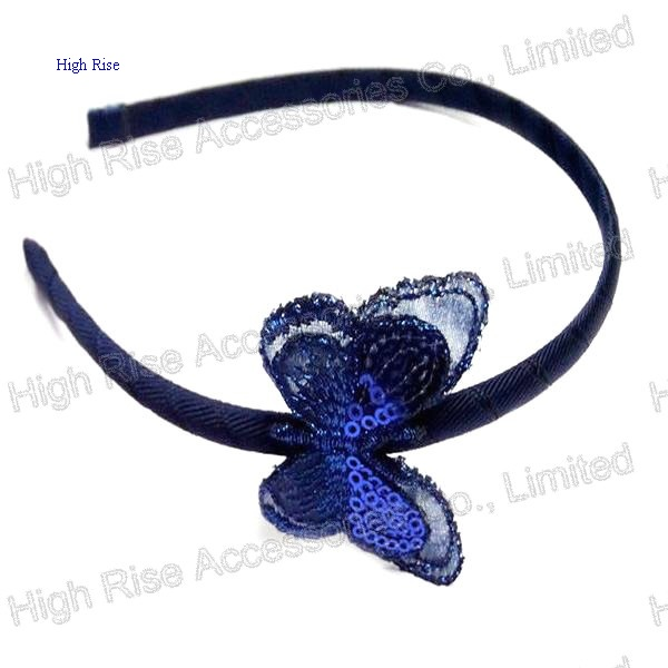 Blue Sequin Lace Butterfly Alice Band