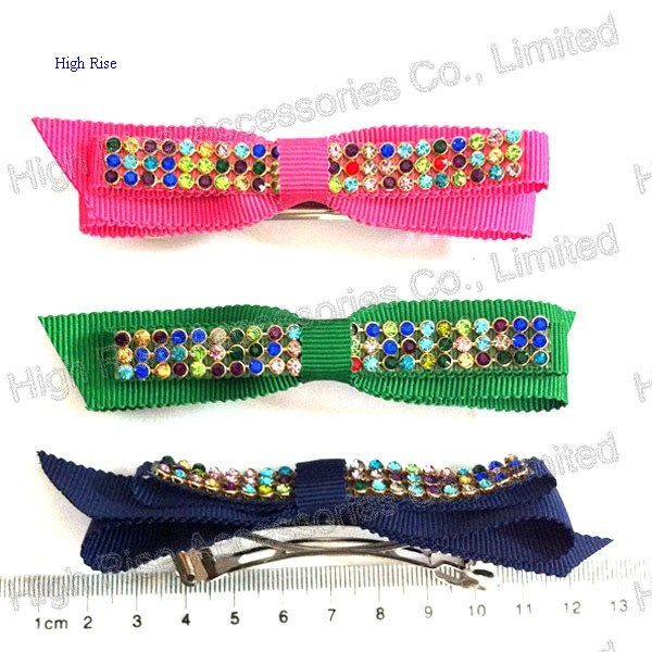 Colored Crystal Ribbon Bow French Clip, Hair Clip