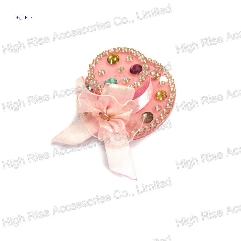 Pink Lace Bow With Colorful Stones Top Hat Duck Clip, Gift Hair Clip