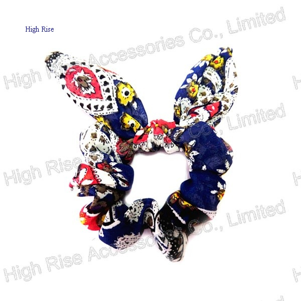 Floral Pattern Bow Scrunchie