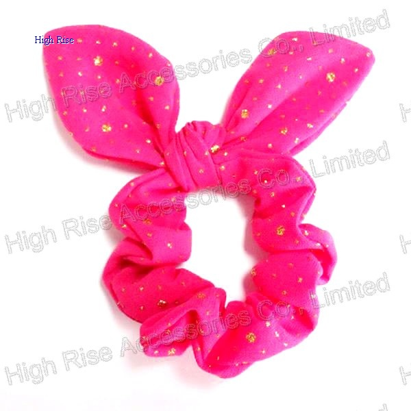 Golden Glitter Dots Scruchies With Wired Bow