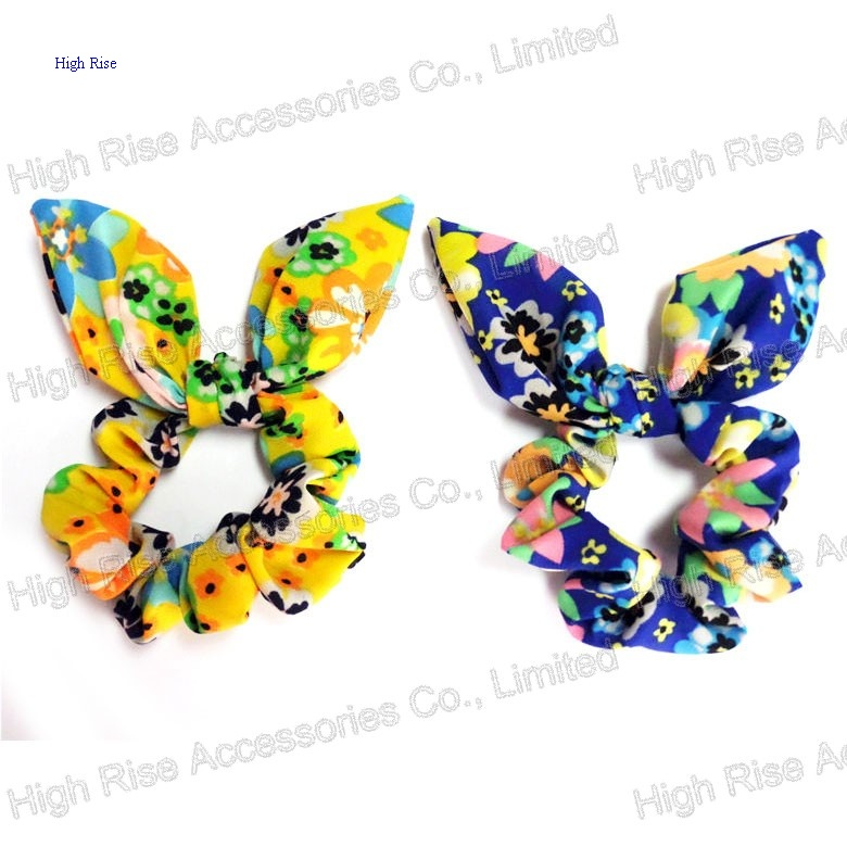 Colorful Flowers Pattern Ear Bow Scrunchie