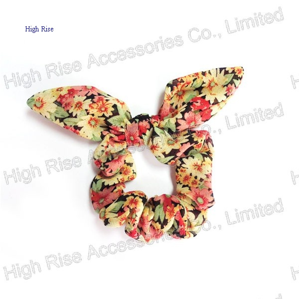 Floral Flowers Pattern Wired Tail Scrunchie