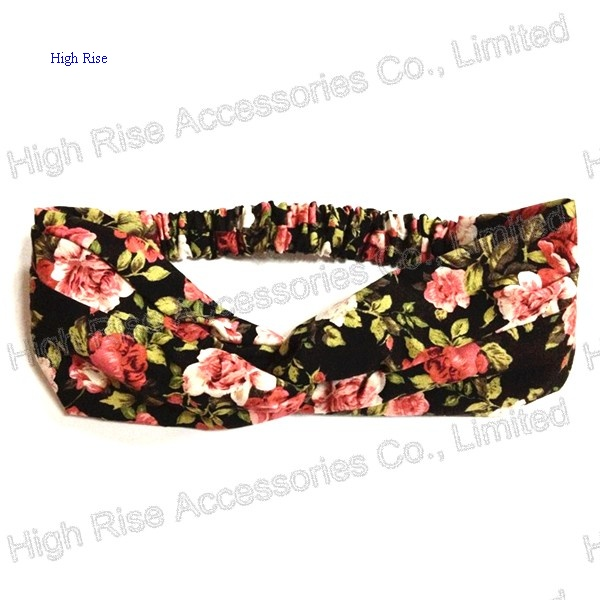 Red Rose Floral Pattern Headwrap