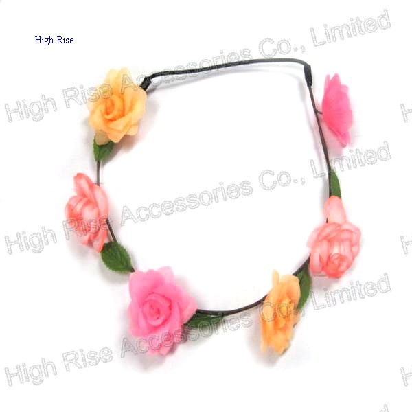 Colored Rose Flower Elastic Headband, Garland