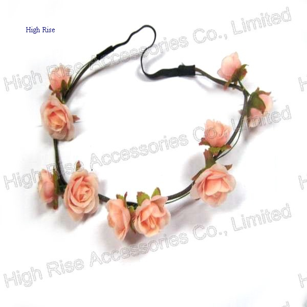 Pale Pink Rose Flower Elastic Headband Garland With Leaves