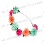Small Colored Pompom Flowers Elastic Headband