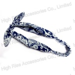 Bue and White Porcelain Pattern Fabric Bow Headband