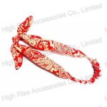 Antique Pattern Red Fabric Bow Headband