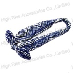 Geo Pattern Blue Headband With Bow