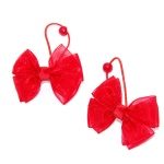 Red Tulle Bow Hair Elastic Ponytail Holder For Kids