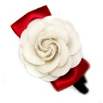 White Felt Fower With Red Ribbon Bow Alice Band For Kids