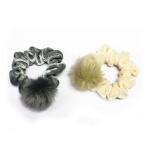 Velvet Scrunchies With Fur Pompom