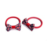 Small Flowers Pattern Bow Hair Elastic Ponytail Holder