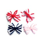 Dotted Grosgrain Bow Flowers Hair Clips For Baby