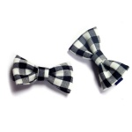 Grey And White Checks Bow Hair Clip For kids