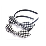 Grey And White Checks Bow Alice Band