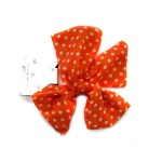 Polka Dots Orange Chiffon Bow Hair Elastic Ponytail Holder